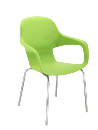 Ariel2 Polyproplene Chair w/ Chrome 4 Leg Frame - Green (CH2507/GREEN)