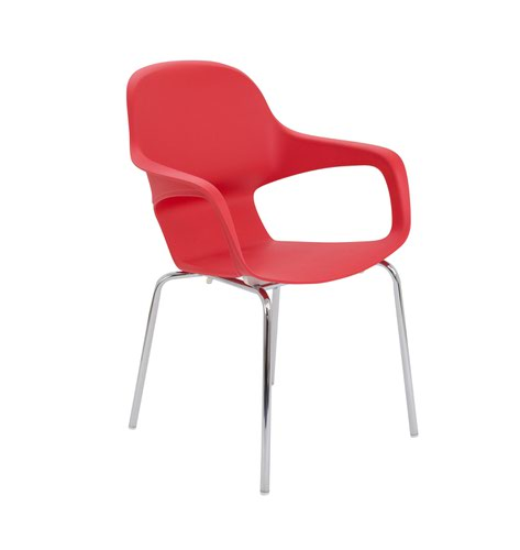 Ariel2 Polyproplene Chair w/ Chrome 4 Leg Frame - Red (CH2507/RED)
