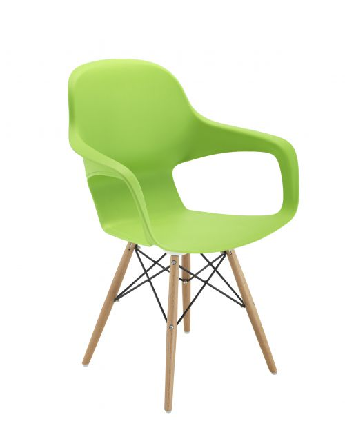 Ariel2 Polyproplene Chair w/ Wooden/Wire 4 Leg Frame - Green (CH2510/GREEN)