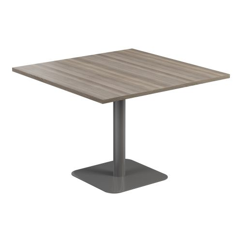 Contract Table 1000 X 1000 Semi Silver Frame Grey Oak Top