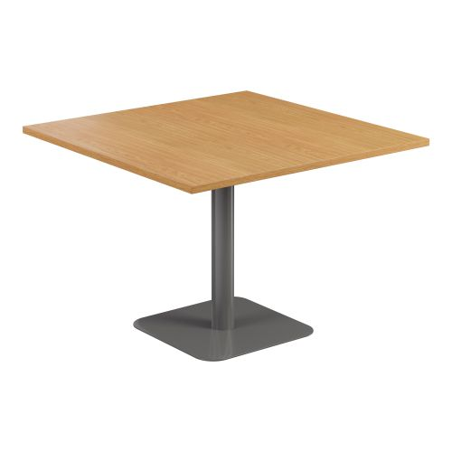 Contract Table 1000 X 1000 Semi Silver Frame Nova Oak Top