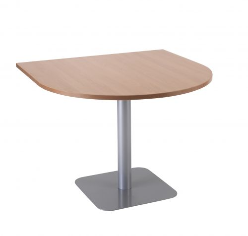 Contract Table 1000 X 1000 Semi Silver Frame Beech - Version 2 Top