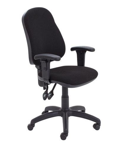 Calypso II High Back Chair with Adjustable Arms - Black