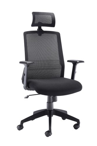 Denali High Back Mesh Chair With Headrest Black