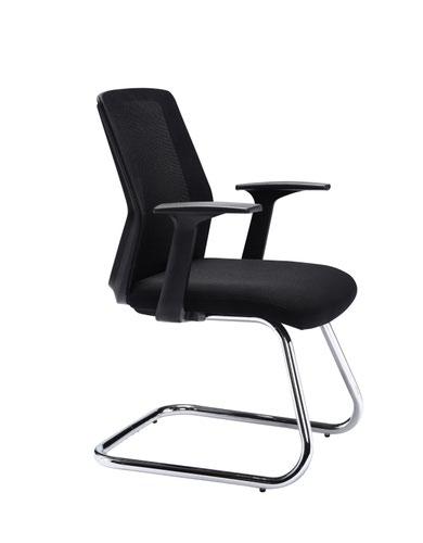 First Visitor Chair 615x580x885mm Black/Chrome KF90887