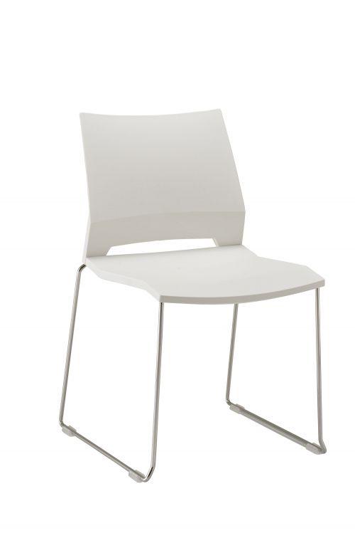 Rome Side Chair White Plastic Chrome Frame