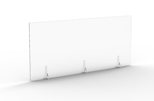 Free Standing Acrylic Screen 1600 x 700 x 4mm Clear