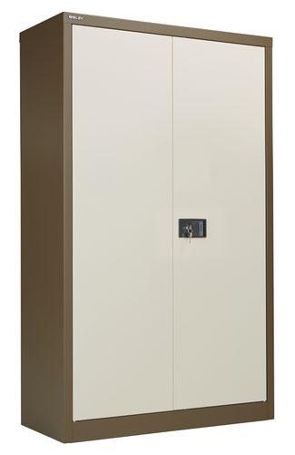 Bisley Steel Double Door Contract Cupboard Inc 3 Shelves - Coffee Cream