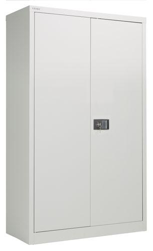 Bisley Steel Double Door Contract Cupboard Inc 3 Shelves - Goose Grey