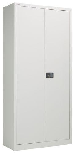 Bisley Steel Double Door Contract Cupboard Inc 4 Shelves - Goose Grey