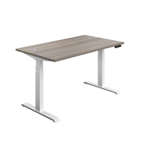 Economy Sit Stand Desk 1400 X 800 Grey Oak-White