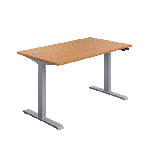 Economy Sit Stand Desk 1400 X 800 Nova Oak-Silver