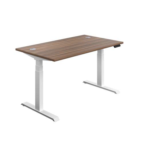 Economy Sit Stand Desk 1600 X 800 Dark Walnut-White