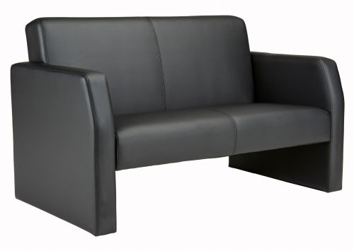 Face Double Leather Seat Sofa - Black