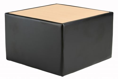 Face Leather Coffee Table - Black/Beech
