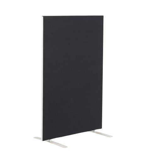 1200W X 1600H Upholstered Floor Standing Screen Straight Black