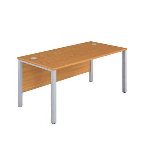 1200X800 Goal Post Rectangular Desk Nova Oak-Silver