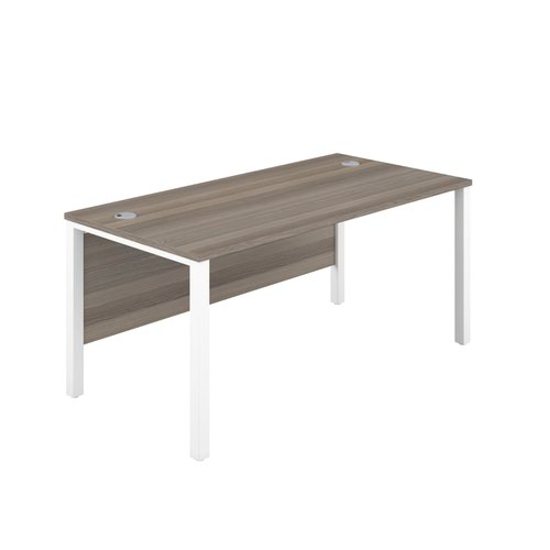 1400X800 Goal Post Rectangular Desk Grey Oak-White