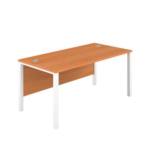 1600X600 Goal Post Rectangular Desk Beech-White