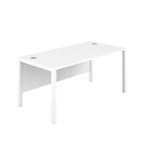1600X600 Goal Post Rectangular Desk White-White
