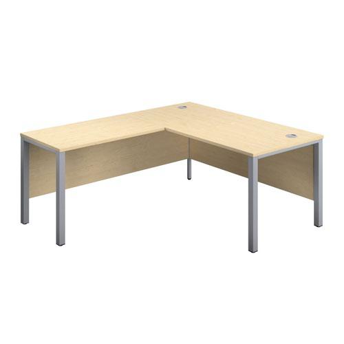 1600X800 Goal Post Left Hand Return Desk Maple-Silver