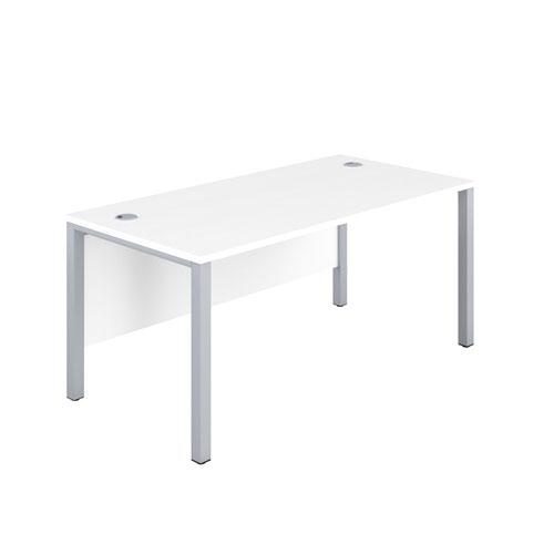 1600X800 Goal Post Rectangular Desk White-Silver
