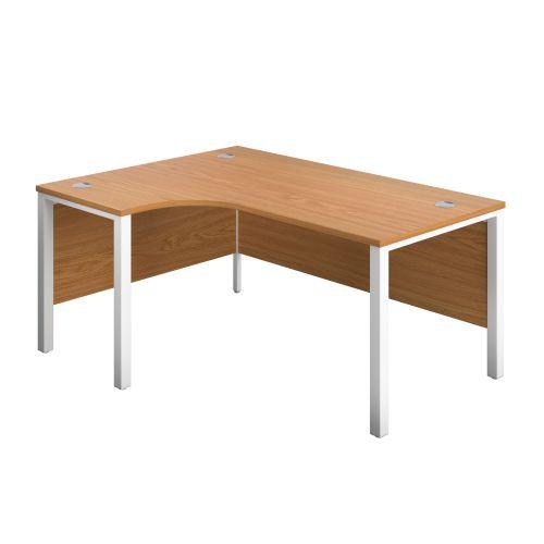 1800X1200 Goal Post Left Hand Radial Desk Nova Oak-White