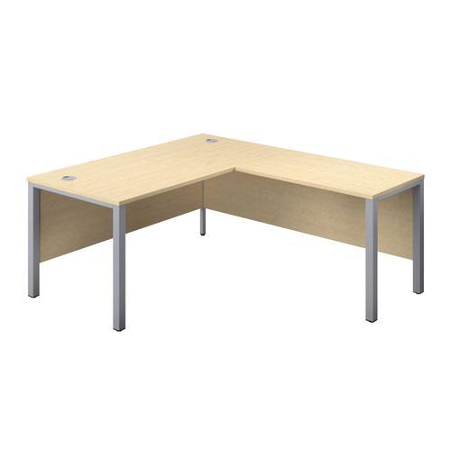 1800X800 Goal Post Right Hand Return Desk Maple-Silver