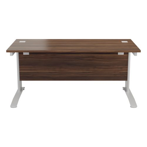 One Cable Cantilever 1400 Rectangular Workstation - Dark Walnut Top White  Legs