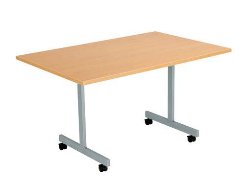 One Eighty Tilting Table 1200 X 800 Silver Legs Beech Rectangular Top