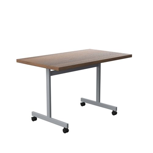 One Eighty Tilting Table 1200 X 700 Silver Legs Dark Walnut Rectangular Top