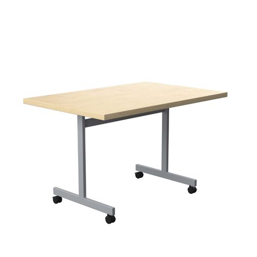 One Eighty Tilting Table 1200 X 800 Silver Legs Maple Rectangular Top