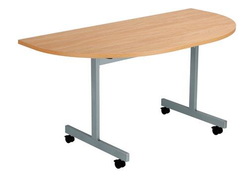 One Eighty Tilting Table 1400 X 700 Silver Legs Beech D-End Top