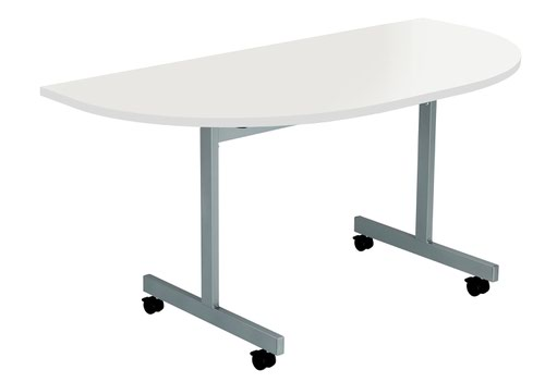 One Eighty Tilting Table 1400 X 700 Silver Legs White D-End Top