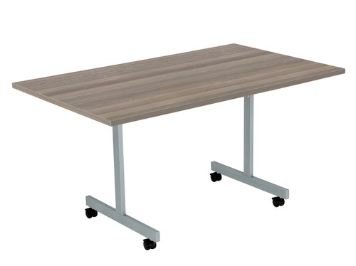 One Eighty Tilting Table 1400 X 700 Silver Legs Grey Oak Rectangular Top