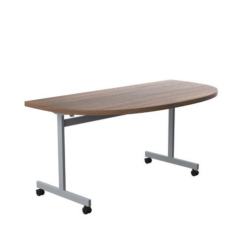 One Eighty Tilting Table 1600 X 800 Silver Legs Dark Walnut D-End Top