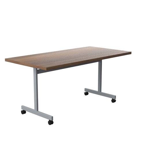 One Eighty Tilting Table 1600 X 800 Silver Legs Dark Walnut Rectangular Top