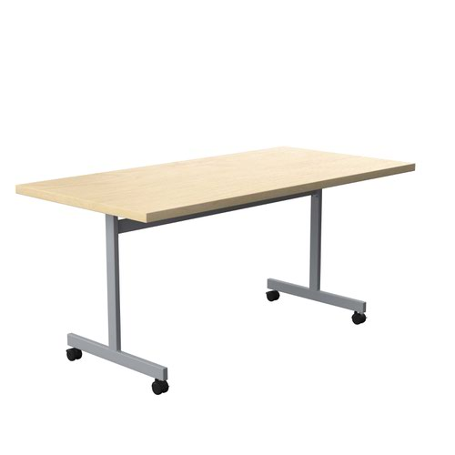 One Eighty Tilting Table 1600 X 800 Silver Legs Maple Rectangular Top