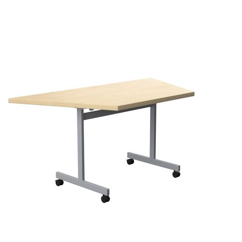 One Eighty Tilting Table 1600 X 800 Silver Legs Maple Trapezoidal Top