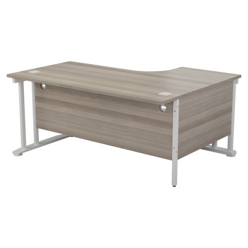 One Cantilever Plus 1600 Crescent Cantilever Workstation LH - Grey Oak /  White Legs