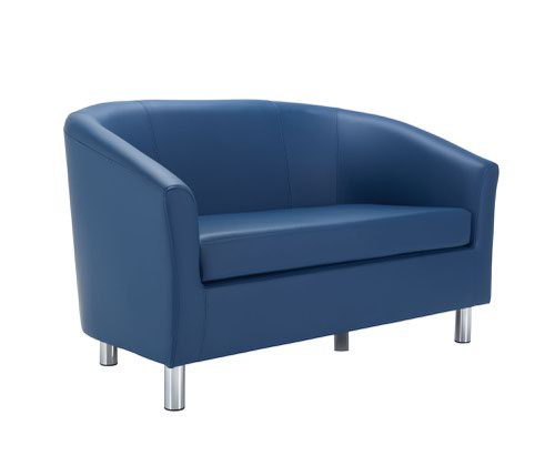 Tub Sofa PU Dark Blue Metal Feet