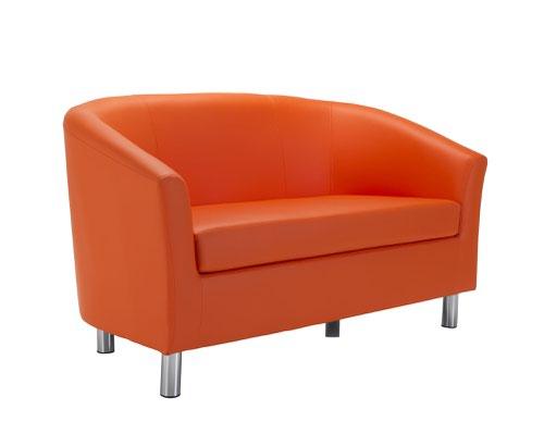 Tub Sofa PU Orange Metal Feet