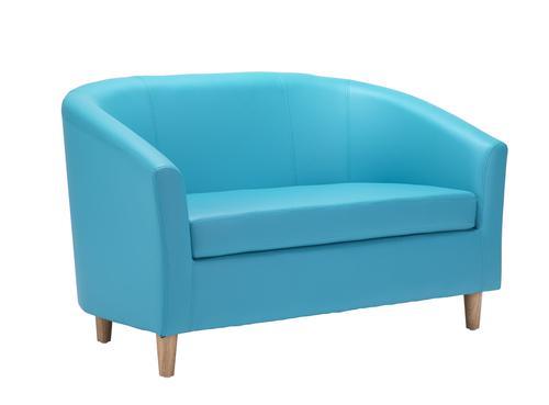 Tub Sofa PU Sky Blue Wooden Feet
