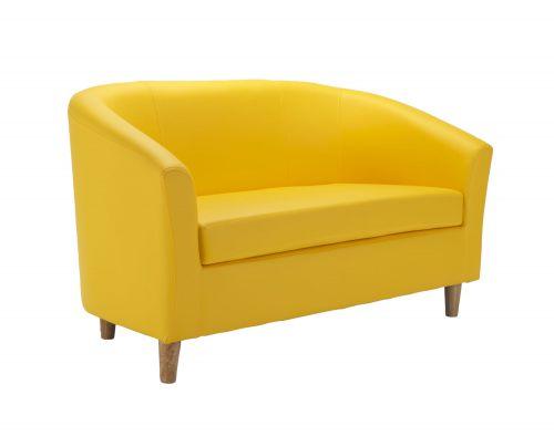 Tub Sofa PU Yellow Wooden Feet