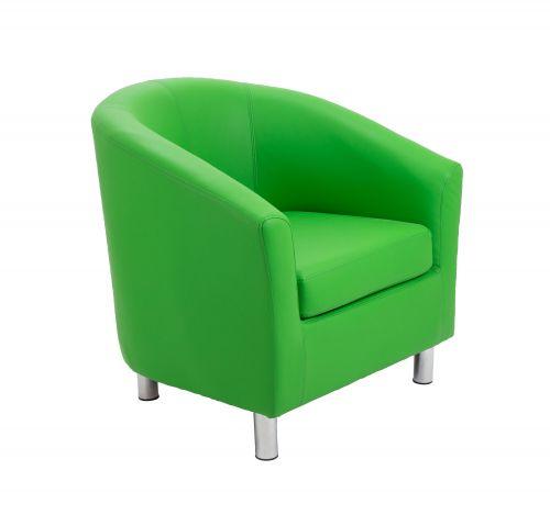 Tub Armchair PU Green Metal Feet