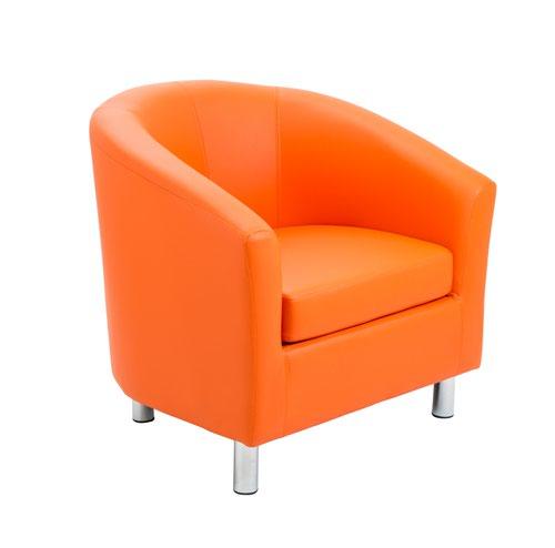 Tub Armchair PU Orange Metal Feet