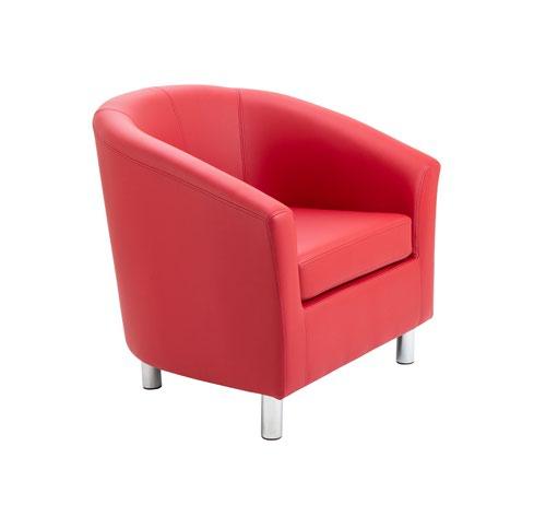 Tub Armchair PU Red Metal Feet