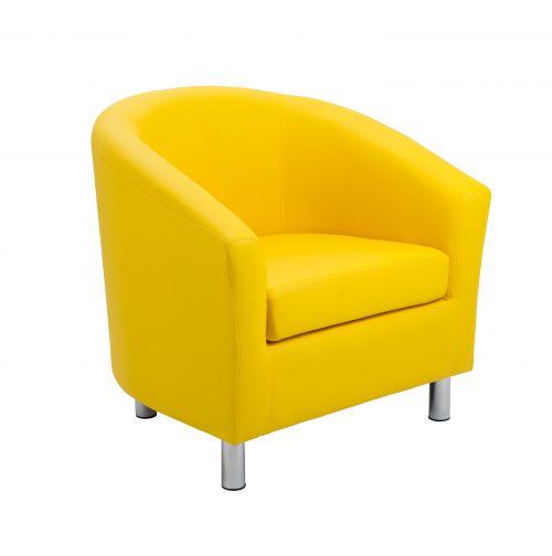 Tub Armchair PU Yellow Metal Feet
