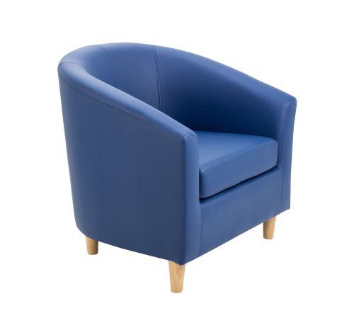 Tub Armchair PU Dark Blue Wooden Feet