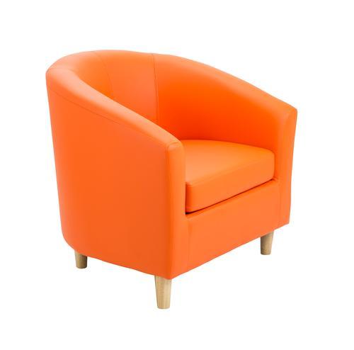 Tub Armchair PU Orange Wooden Feet
